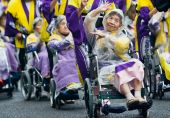 Elderly Japanese Ohara Festival Dancers in wheelchairs