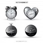 Vector Icon set. Clock,Compass,Speedometer