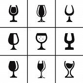 Wineglass icons set