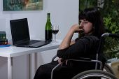 Disabled Woman With Alcoholic Problem