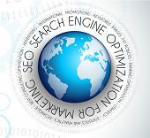SEO Search engine optimization concept with abstract designs behind. Modern conceptual and high tech