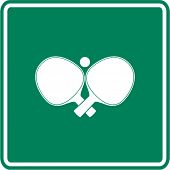 crossed ping pong paddles and ball sign