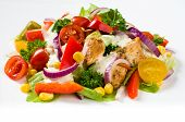 picture of gyro  - Chicken gyros salad and sauce on white - JPG