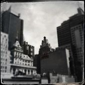 Instagram filtered image of new and old city buildings