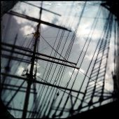 Instagram filtered style image of sailing ship masts