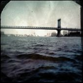 Instagram filtered style image of the Manhattan Bridge