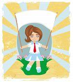 Happy Schoolgirl , Abstract Card
