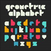 Geometric alphabet. Font design, vector.