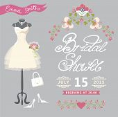 Bridal Shower card.Cute wedding invitation with floral border