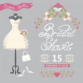 Bridal Shower card.Cute wedding invitation with floral border