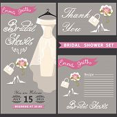 Bridal shower design  template set with wedding dress.eps