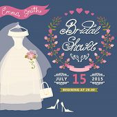 Bridal Shower invitation with floral wreath,wedding dress