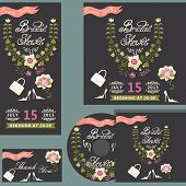Cute bridal shower design  template set with floral wreath