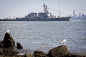 STATEN ISLAND, NY - MAY 25, 2014: The guided-missile destroyer USS Cole (DDG 067) moored at Sullivan