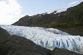 USA, Alaska, glacier between cliffs
