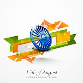 Creative background for 15th of August, Indian Independence Day celebrations with Asoka Wheel and na