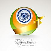 Shiny globe in national tricolors with Asoka Wheel and golden ribbon on grey background for 15th of