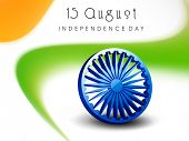 Shiny 3D asoka wheel on beautiful national tricolors waves background for Indian Independence Day ce