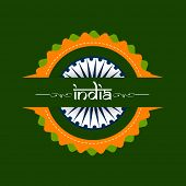 Beautiful badge in national tricolors with stylish text India on green background for Indian Indepen