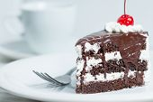 pic of chocolate fudge  - A piece of chocolate cake and cherry topping with vanilla cream - JPG