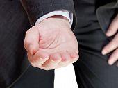 Businessman Holds Handful - Hand Gesture