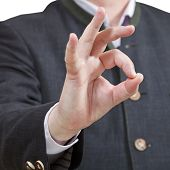 Businessman Shows Okey Sign Close Up
