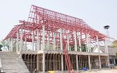 Construction Site of Thai Temple And Steelwork