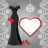 picture of black heel  - Black party dress on the mannequin with Paisley lace - JPG