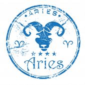 Aries grunge rubber stamp