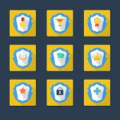 Trophy and awards icons in flat design style