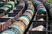 stock photo of railroad yard  - A train yard full of freight trains High Angle View