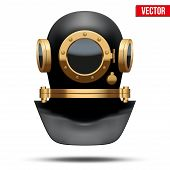 Underwater Diving Helmet. Vector Illustration
