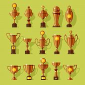 Vector icons set of silver sport award cups.