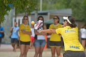 MOSCOW, RUSSIA - JULY 18, 2014: Joana Cortez of Brazil in the match against Cyprus during ITF Beach