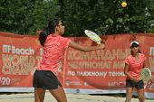 MOSCOW, RUSSIA - JULY 18, 2014: Woman double of China in the match against Greece during ITF Beach T
