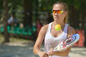 MOSCOW, RUSSIA - JULY 18, 2014: Ekaterina Kirgizova of Russia in the match against Hungary during ITF Beach Tennis World Team Championship. Italy won 3-0