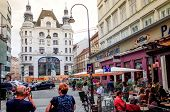 VIENNA, AUSTRIA-July 3 : Tourists on foot Graben Street in Vienna on July 3, 2014.Vienna is Austria'