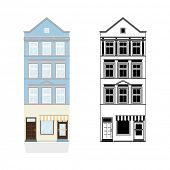 Old Town House with Shop. Vector Illustration of blue townhouse with shop from 19th century. Color a