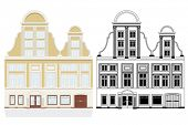 19th century town house. Vector illustration of 19th century town house with shop and gate. Color an