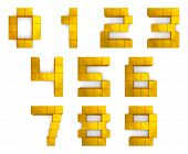 Numbers 3D Cubic Golden