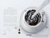 Elegant Vector cup of coffee with a milk