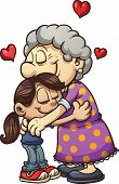 Girl hugging her grandmother. Vector clip art illustration with simple gradients. All in a single la