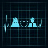 creative male female icon with electrocardiograph background vector