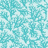 Vector seamless pattern with blue coral. Good for textile, wallpapers, paper for art and craft.