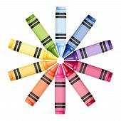 Colored crayons in a circle. Vector illustration.
