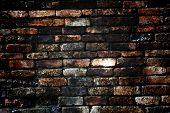 Brick Grunge Texture, Wall Background, Vignette