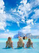 Three Women in beautiful lagoon at Phi Phi Ley island