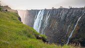 Victoria Falls sunset, Zambia side with zambezi river