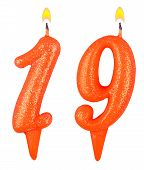 Birthday Candles Number Nineteen Isolated On White