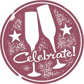 Celebrate Champagne Toast Party Stamp